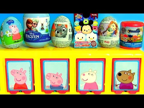 Pop Up Toy Surprise Peppa Pig School Bus With Disney Tsum Tsum Frozen Anna Elsa Paw Patrol Mashems