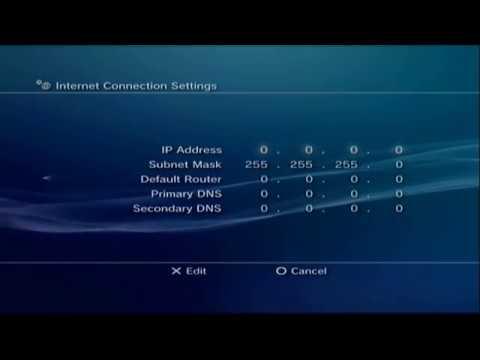 Setting PS3 IP Address