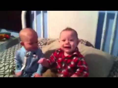 William and Coley laughing and sitting up