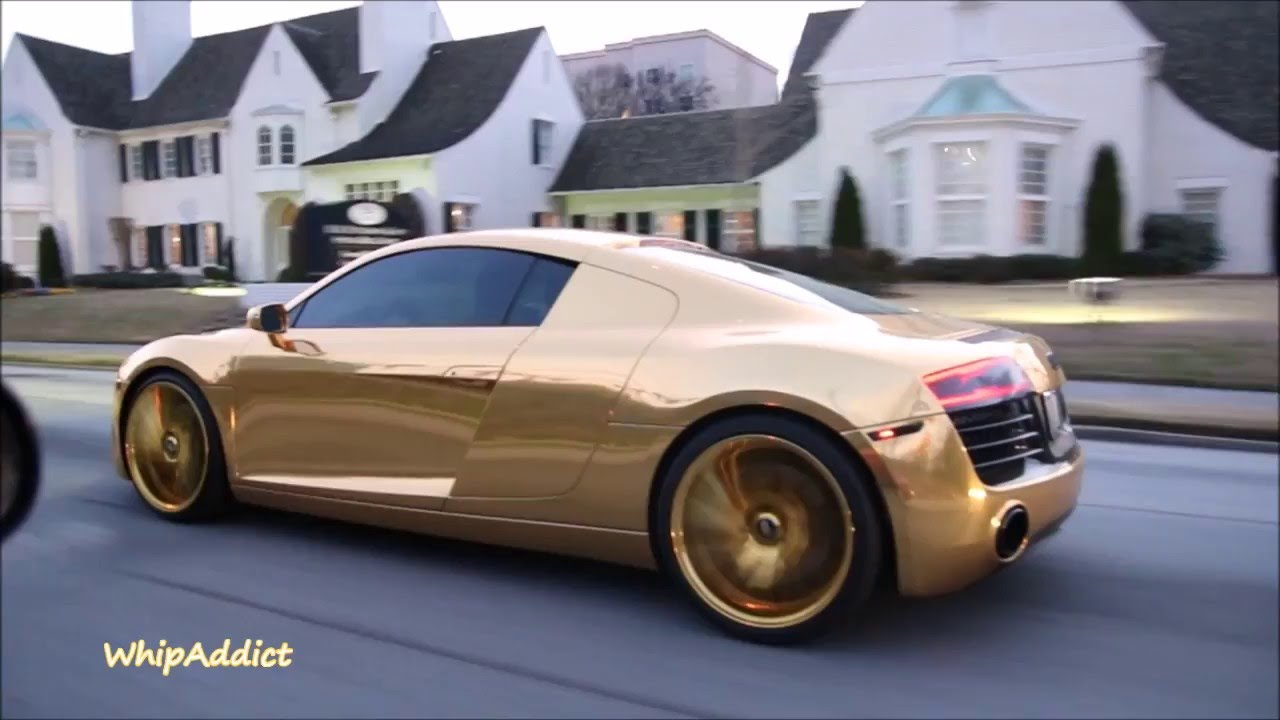 Whipaddict Dennis Schroder S Gold Wrapped Audi R8 On Gold Savini 22s Cruising Atlanta Youtube