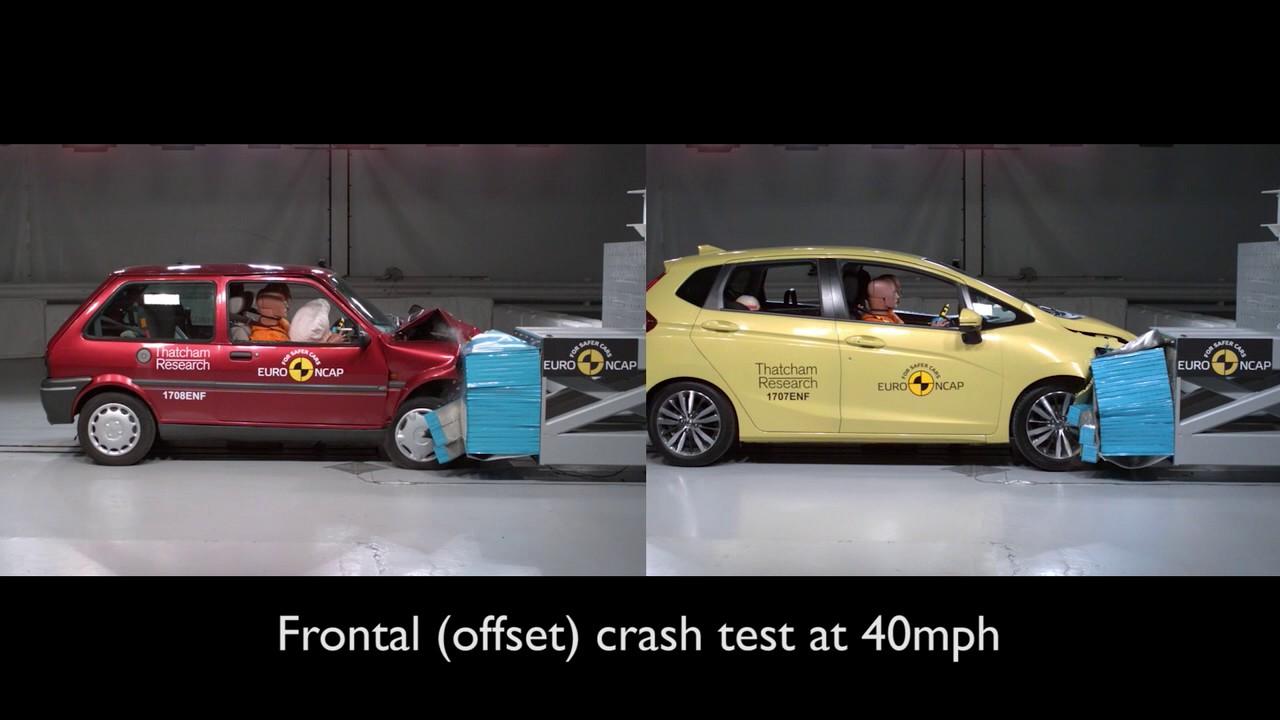 Euro NCAP 20 years of crash testing - Honda Jazz vs Rover 100 Comparison