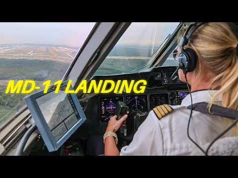 Female Pilot Landing MD 11 Cockpit View Lufthansa