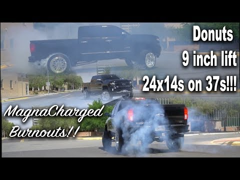 BURN OUT ONLY VIDEO!! LIFTED CHEVY SILVERADO MAGNA CHARGED DOES DONUTS!! BURNS 35S LIKE BUTTER!