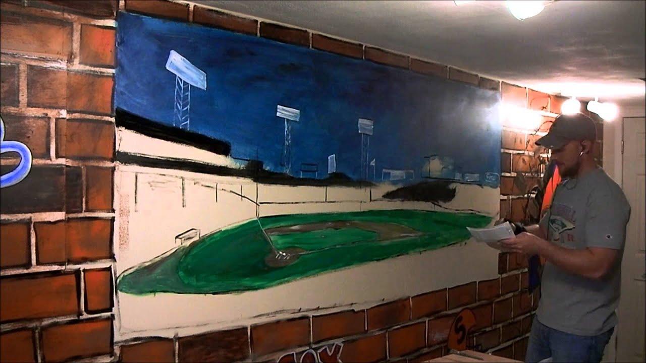 Time Lapse Fenway Park Mancave Mural  CNY Murals Part 85