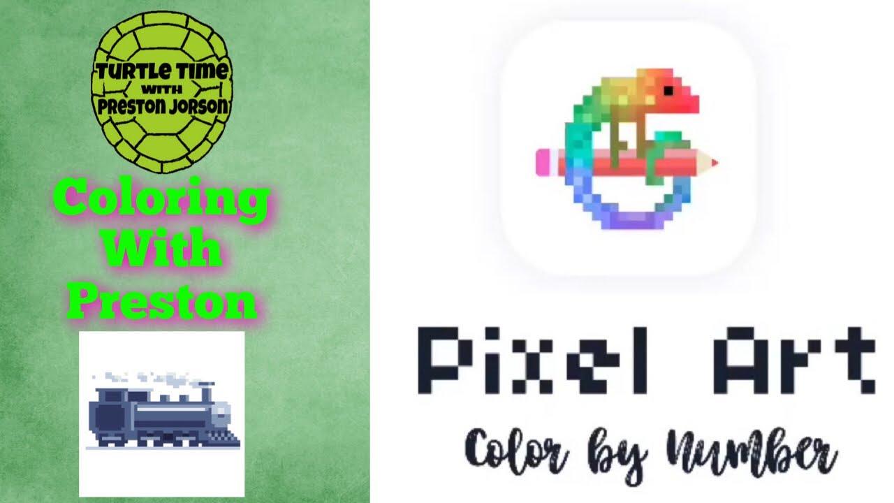 Coloring With Preston Pixel Art Train - YouTube