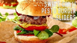 Sweet Chili Pesto Burger Sliders Recipe  HappyFoods Tube