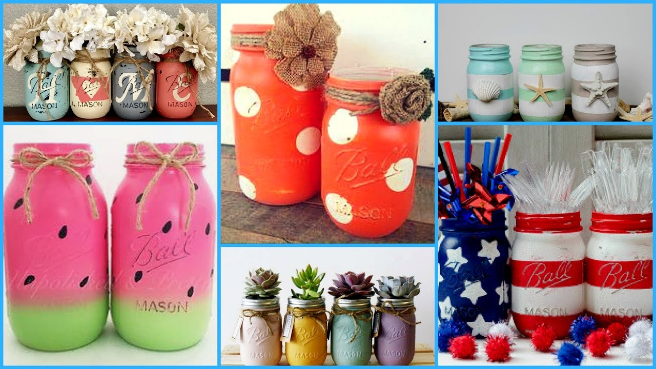 Diy Mason Jars Crafts Ideas Diy Summer Room Decoration Ideas Recycle Jar Projects Youtube