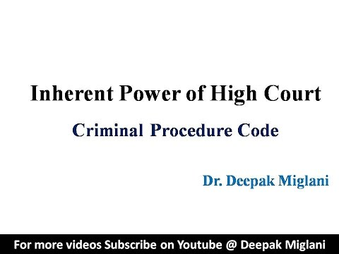 Inherent Powers of High Court under Criminal Procedure Code