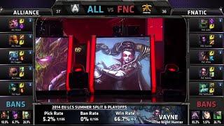 Alliance vs Fnatic Game 1 | Finals EU LCS Summer 2014 Playoffs | ALL vs FNC G1 S4 Worlds Regionals