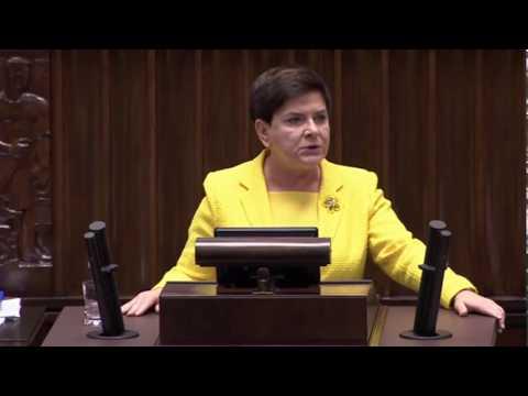 Beata Szydło - Wystąpienie Premier RP w Sejmie