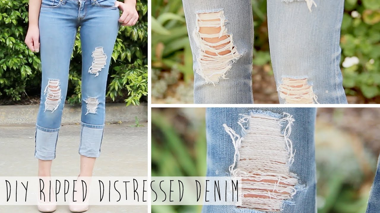 Salvage Your Jeans  DIY Ripped Distressed Denim - YouTube
