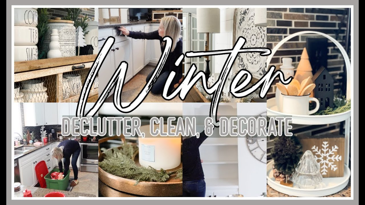 WINTER KITCHEN CLEAN AND DECORATE WITH ME 2020! | WINTER DECORATING IDEAS 2021