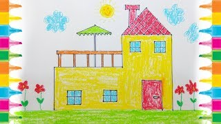 How to Draw House for kids Drawing House for Learning Colors Very Easy