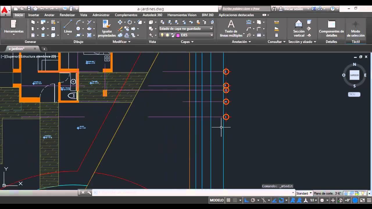 Ejes y cotas en planta arquitect nica autocad 2015 v14 for Tecnicas de representacion arquitectonica pdf