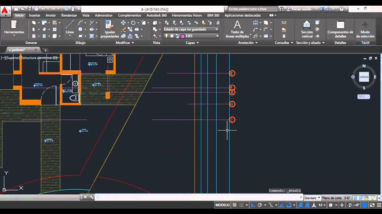 Ejes y cotas en planta arquitect nica autocad 2015 v14 for Ejes arquitectonicos