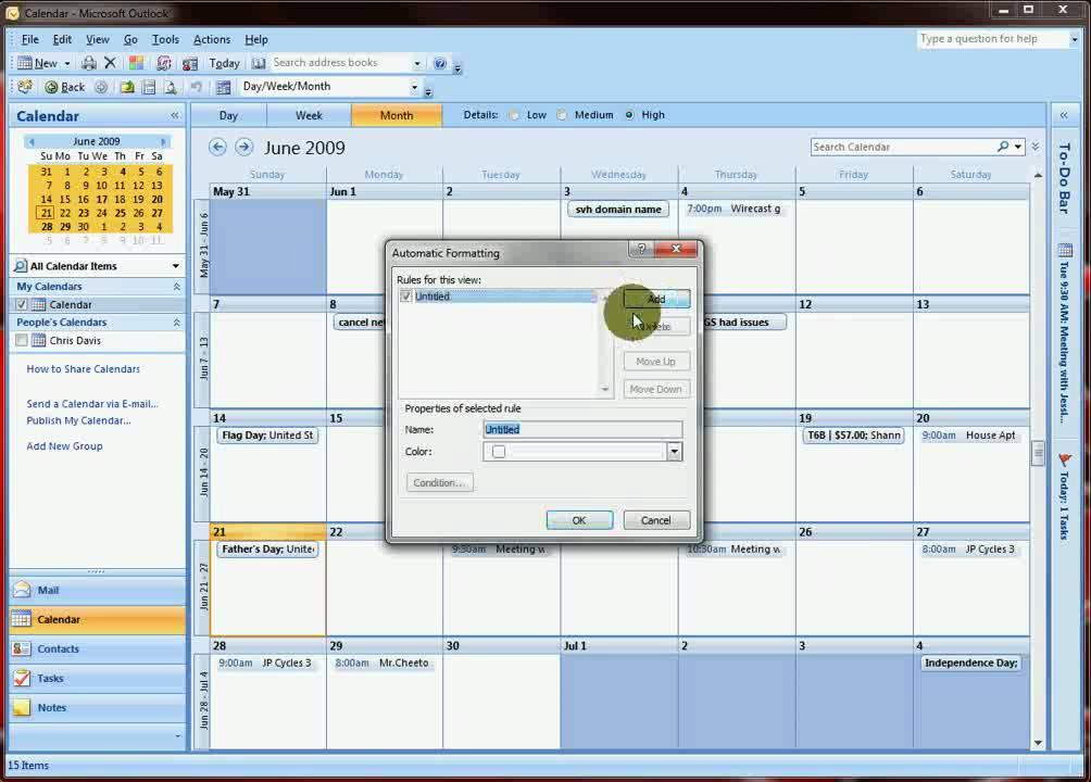 Outlook 2007 - Calendar Conditional Formatting - YouTube