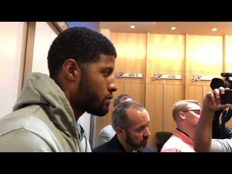 Carmelo Anthony and Paul George, Postgame (Dec. 5, 2017)