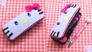 DIY HELLO KITTY Pencil Box/How to make HELLO KITTY Pencil Box/ DIY HELLO KITTY Craft /Back to school