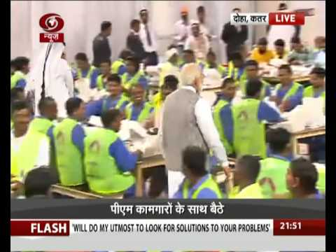 PM Narendra Modi share dinner and interacts with Indian workers in Doha, Qatar