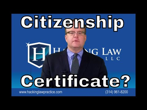 Certificates of Citizenship for those who are citizens by law