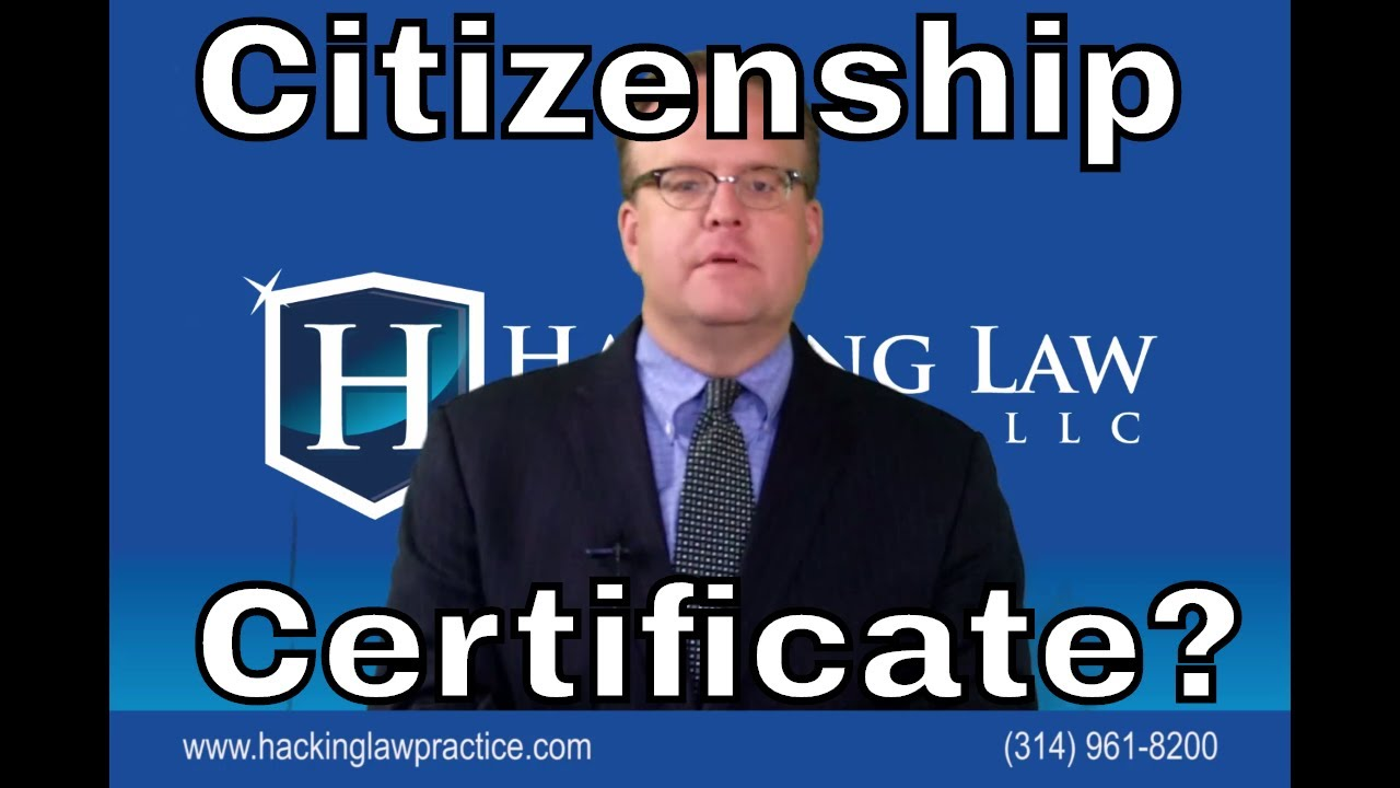 Certificates Of Citizenship For Those Who Are Citizens By Law Youtube