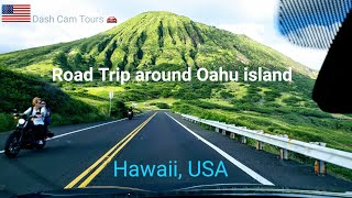 Dash Cam Tours 🚘 Road Trip around Oahu Island,  Hawaii,  US…