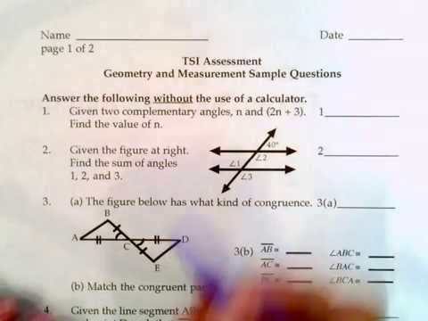 Texas Success Initiative, ACCUPLACER, Geometry Sample Questions 1 to 5