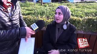 Türbanlı kadın röportaj yapan adama ayarı verdi.