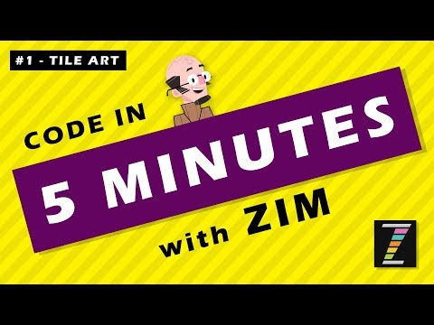 Code in FIVE Minutes with ZIM (01 - Tile Art) JavaScript for HTML Canvas - Learn with ZIMjs thumbnail