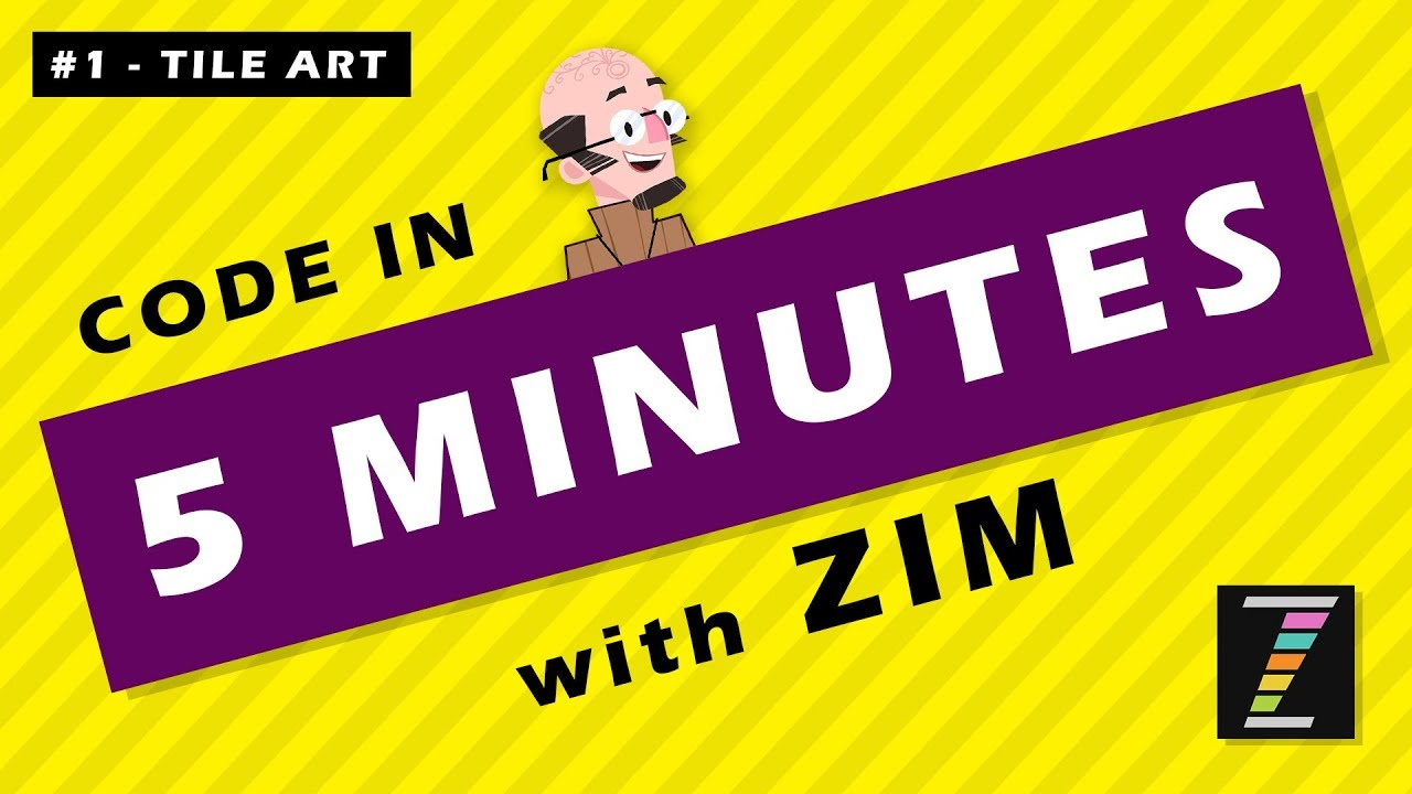 Code in FIVE Minutes with ZIMjs (01 - Tile Art) Learn JavaScript for HTML  Canvas with ZIM