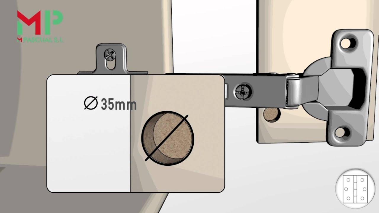 Bisagra cazoleta: colocación y ajuste www.mpascual.es - YouTube