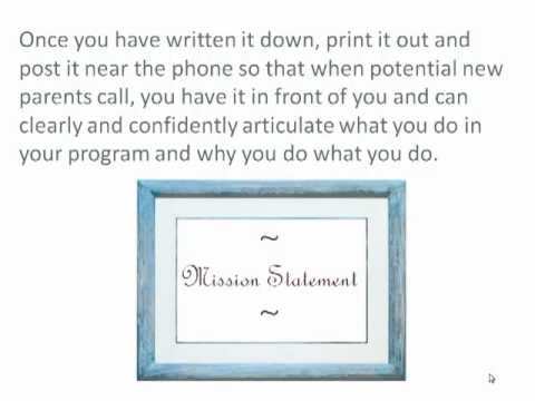 Writing Your Family Child Care Mission Statement - YouTube