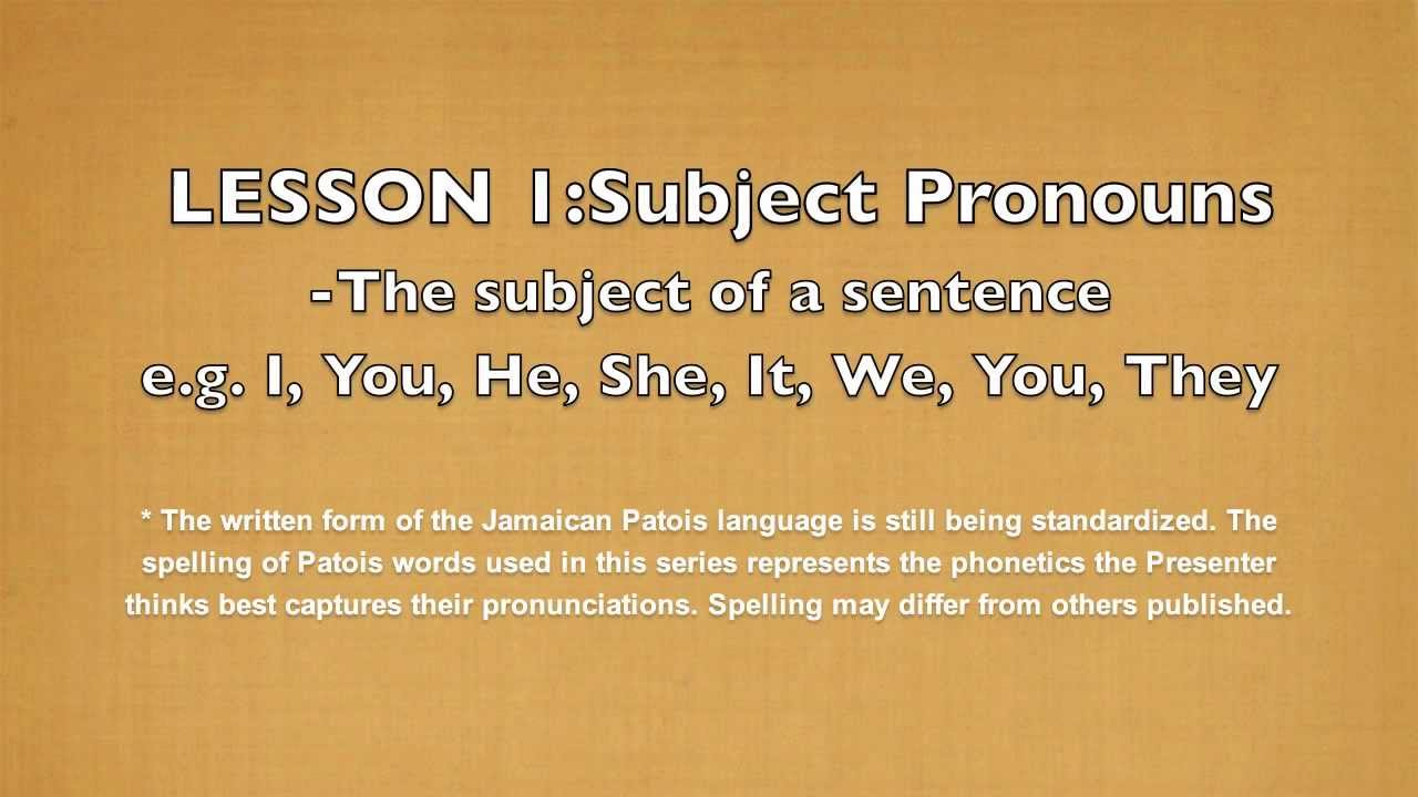 Jamaicansinting Lesson 1 Answers Learn Jamaican Patois Subject