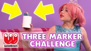 3 Marker Challenge 🖊️ Learn Colors & More Fun - Princesses In Real Life | WildBrain Kiddyzuzaa