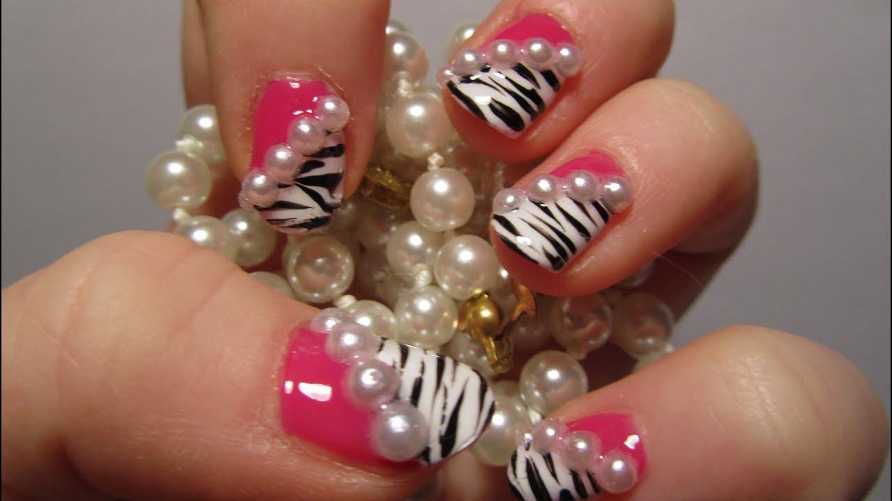 Zebra Print Hot Pink Design With 3d Half Pearls Nail Art Tutorial