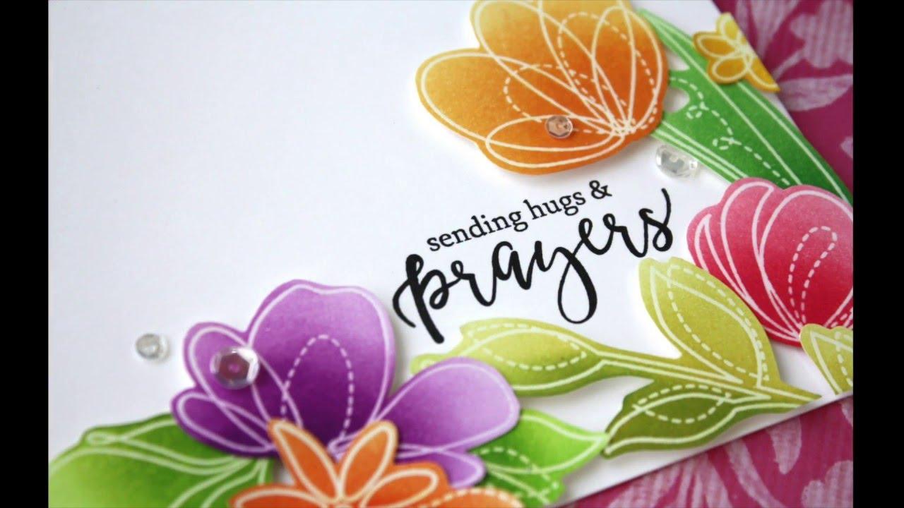Emboss Resist Ink Blended Floral Card Using Spring Flowers ...