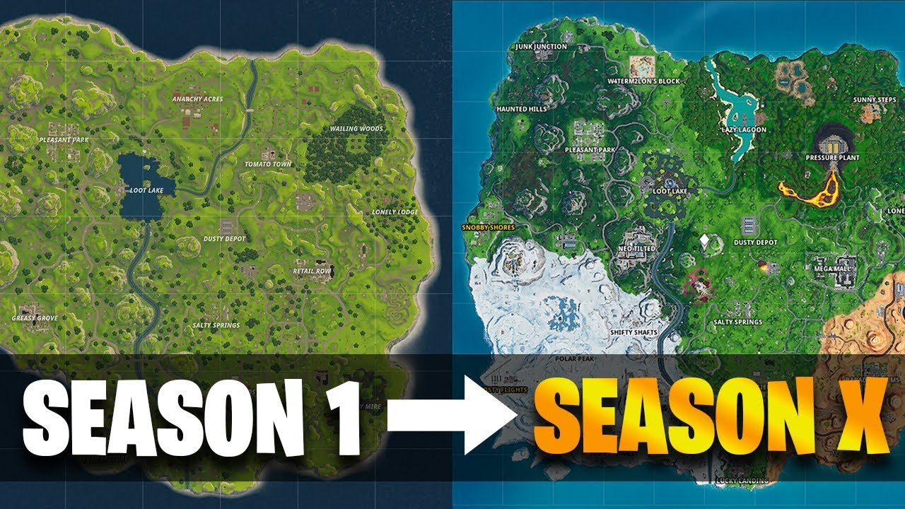 Fortnite Map Evolution From Season 1 To Season 10 Season X