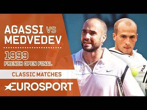 Andre Agassi Vs Andrei Medvedev | French Open 1999 Men's Final Highlights | Eurosport