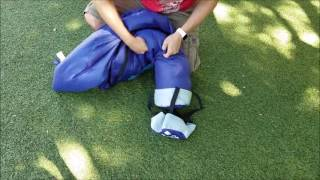 How to pack OutdoorsmanLab Cool Weather Sleeping Bag into Compression sack | OutdoorsmanLab Ella