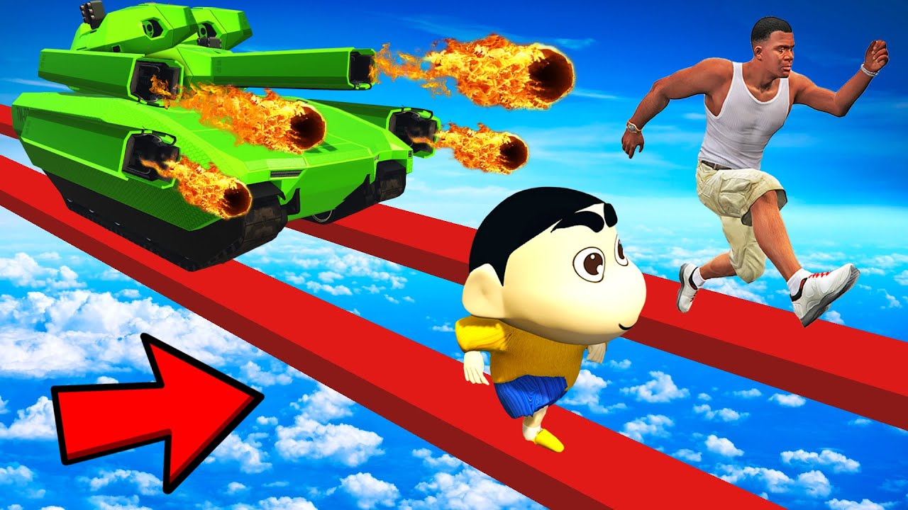 SHINCHAN AND FRANKLIN TRIED IMPOSSIBLE TANK CANON CHALLENGE GTA 5