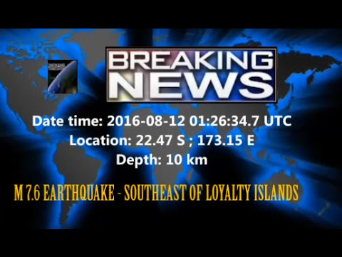 M 7.2 EARTHQUAKE - SOUTHEAST OF LOYALTY ISLANDS - Aug 12, 2016