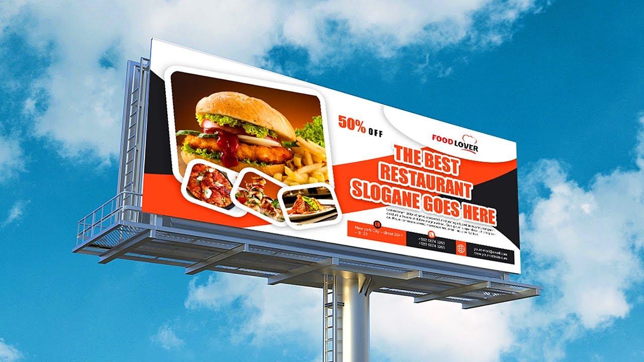 Restaurant Billboard Banner Design | Photoshop Tutorials