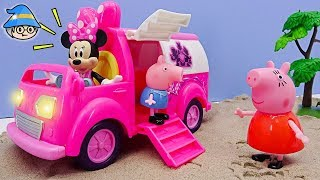 Peppa Pig Episode English. Pink car toys. Mickey Mouse toy.