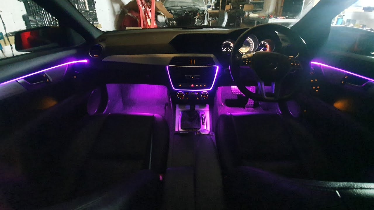 mercedes c class saloon w204 ambient lights rgb led car interior lights ambient lights install