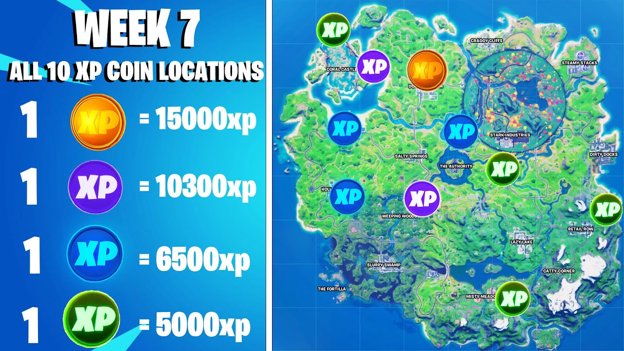 Download Fortnite Week 7 All 10 Xp Coins Locations - Chapter 2 Season 4