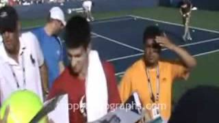 Novak Djokovic - Signing Autographs at the 2010 U.S. Open in Flushing Meadows