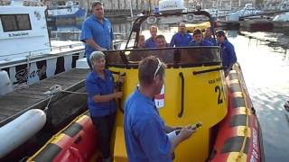 Launching Spirit of St Francis after a refit in CT. NSRI Station 21, St Francis Bay, South Africa