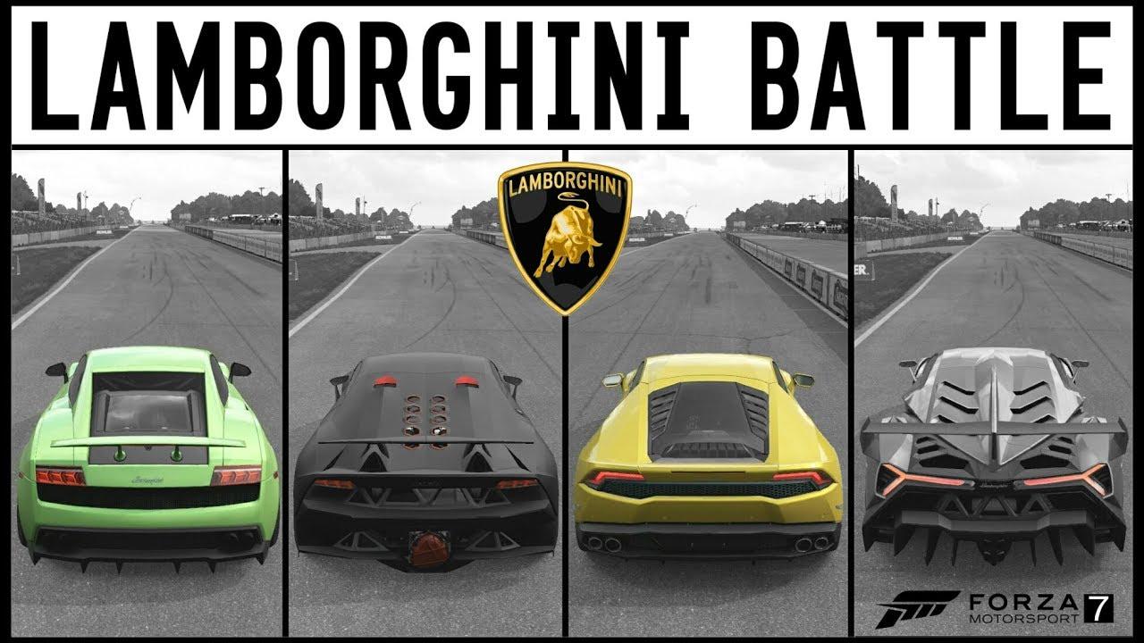 Forza 7 Lamborghini Gallardo Vs Veneno Vs Huracan Vs Sesto