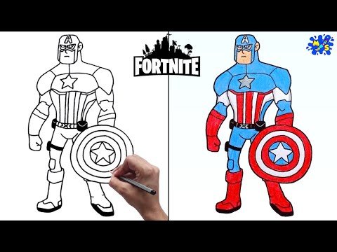How to Draw Fortnite Captain America || Easy Step by Step #Withme