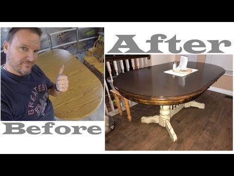 Dining Table Refinish, White, Antiquing With Dark Walnut Stain
